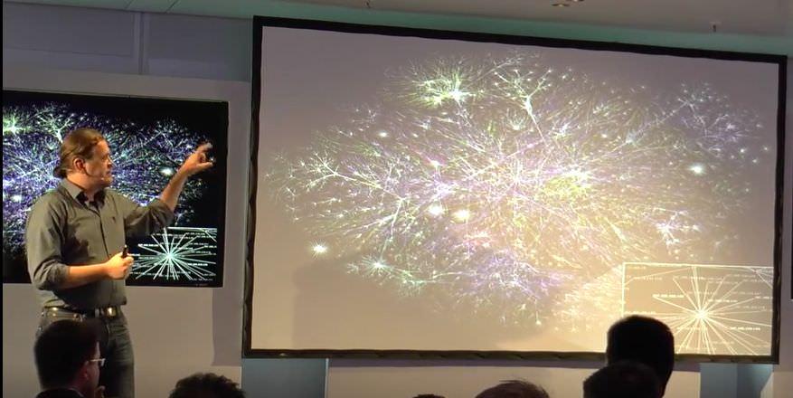 Kai zeigt ein Schema der Vernetzung des Internets, das an die Vernetzungen im Gehirn erinnert